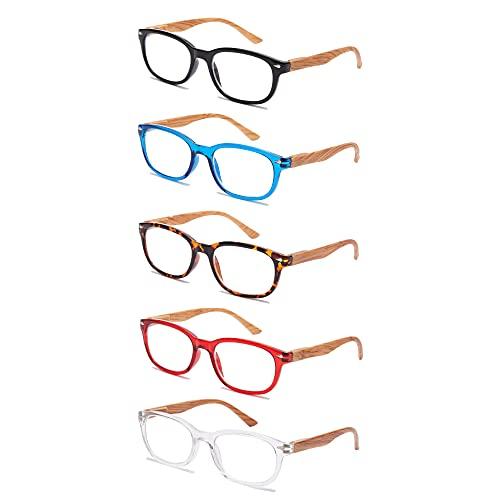 EFE Gafas de Lectura 5-Pack para Hombres Mujeres Gafas Aumento Lectura con Diseño de Vetas de Madera Rectángulo Estilo Ligeros Cómodos Anti Luz Azul para Antifatiga 2.0