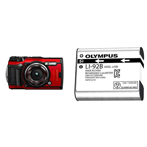 Olympus Tough TG-6 Waterproof Camera, Red w/ Olympus Li-92 Rechargeable Battery