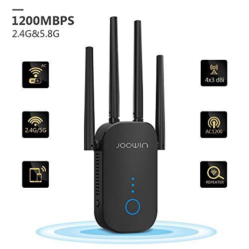 JOOWIN WLAN Repeater, 1200Mbit/s WLAN Verstärker 5GHz 867Mbit/s 2,4GHz 300Mbit/s WiFi Repeater mit AP-Modus/Repeater/Router, WiFi Range Extender kompatibel mit Allen WLAN Geräten (schwarz)