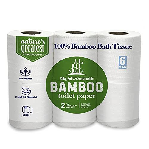 Bamboo Toilet Paper - 6-Rolls - 2-Ply Made From Tree-Free, 100% Bamboo Fibers - Eco-Friendly, - Silky, Soft, and Sustainable Packaging May Vary