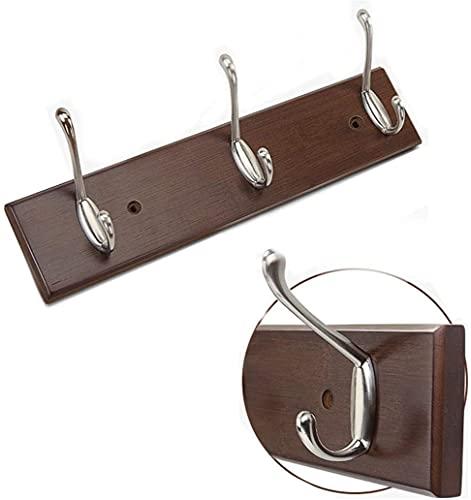 HJW Praktische opbergrek Hangende Entryway Plank met 3 haken, wandmontage drijvend opbergrek voor woonkamer slaapkamer gang balkon display 48 cm x 7 cm x 1,5 cm 1Huiyang-01020, bruin