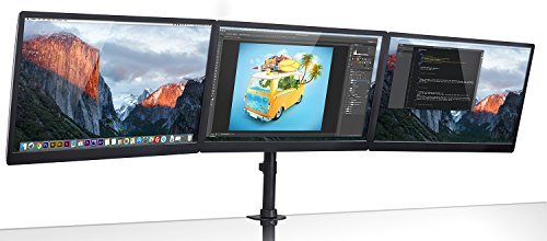 Mount-It! Triple Monitor Mount 3 Screen Desk Stand for LCD Computer Monitors for 19 20 22 23 24 27 Inch Monitors VESA 75 and 100 Compatible Full Motion, 54 lbs Capacity (MI-1753),Black