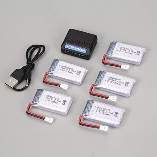 Unitedheart 5Pcs 3.7V 800mAh Batería + 5 en 1 Cargador USB para Syma X5C X5SW X5SC MJX X705C SG600 RC Drone Quadcopter Pieza de batería de Repuesto