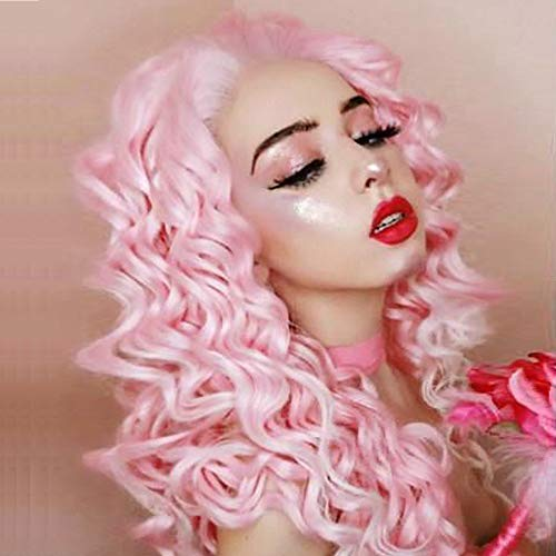 Imstyle Pink Mixed White Wigs Kinky Curly Synthetic Lace Front Wig Pinke Perücke