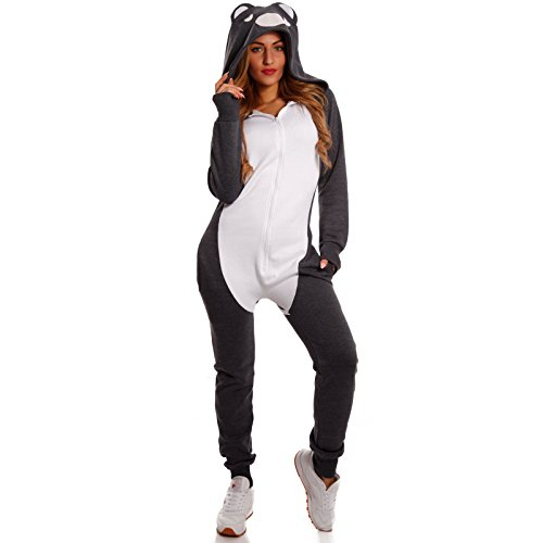 Crazy Age Witzioger Koala Jumpsuit Tierkostüm Bärenkostüm mit 3D Kapuze (Navy/weiß, L=40)