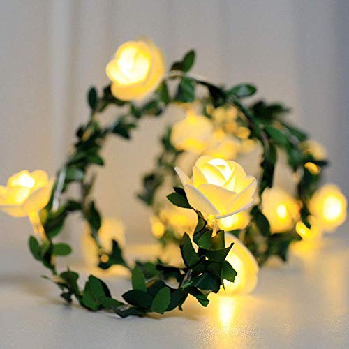 FEEE-ZC 6M 40LED Flower Fairy Lights Artificial Rose Ivy Garland String Lights Batteries Powered for Christmas Wedding Bouquets Party Home Decorations