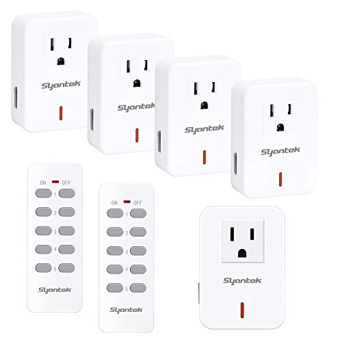 Syantek Remote Control Outlet Wireless Light Switch for Household Appliances, Expandable Remote Light Switch Kit, Up to 100 ft Range, FCC Certified, ETL Listed, White (5 Outlets + 2 Remotes)