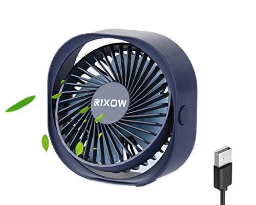 Ventilatore USB, Rixow Mini Ventilatore Silenzioso, Fan su Scrivania, Ventilatore PC Portatile 360 Gradi di Rotazione Personalizzabile, Ideale per Ufficio/Casa/Viaggi/Campeggio, 3 Velocità
