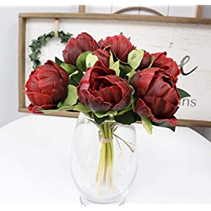 Silk Flower Arrangements Angel Isabella, LLC Real Touch Peony Bouquet - 6 Blooms 2buds PU Life-Like Realistic Touch Artificial Flowers for Decor, Wedding, Crafts