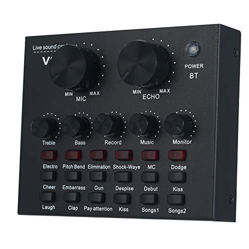 Placa de som externa Zwbfu V8 com microfone, entrada USB compatível com interface de áudio de computadores e celulares com BT, para fazer chamadas on-line, cantar, fazer transmissão de vídeo ao vivo, gravar músicas