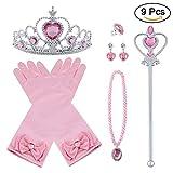 Vicloon 9Pcs Princesa Vestir Accesorios Regalo Conjunto de Belleza Corona Sceptre Collar Guantes para Niña - Rosado