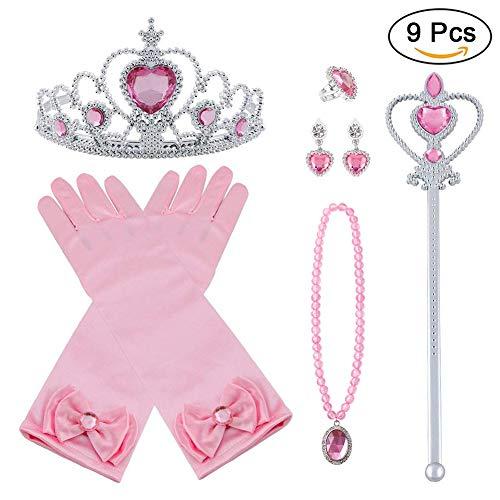 Vicloon Nuovi Costumi da Principessa Set di 9 Pezzi Dono da Tiara, Guanti, Bacchetta Magica, Anello, Orecchino, Collana da 3 a 9 Anni (Rosa)