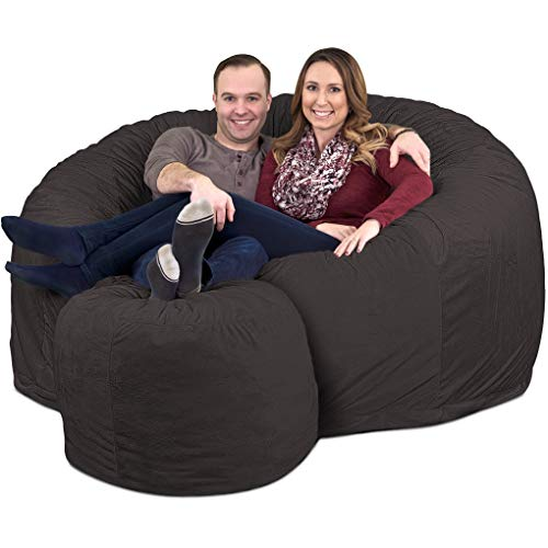 ULTIMATE SACK 6000 Bean Bag Chair w/Footstool: Giant Foam-Filled Furniture - Machine Washable Covers, Double Stitched Seams, Durable Inner Liner, and 100% Virgin Foam Footstool Incl. (Grey, Suede) Bags Bean Dining Features Home Kitchen
