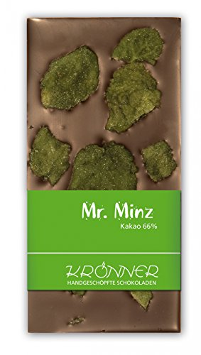 Krönner Mr. Minz Zartbitter Schokolade mit kandierten Pfefferminzblättern, 110 g Tafel, Kakao 66%