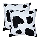 CaliTime Pack of 2 Cozy Fleece Throw Pillow Cases Covers for Couch Bed Sofa Farmhouse Animal Skin Pattern Printed Both Sides 18 X 18 Inches Cow