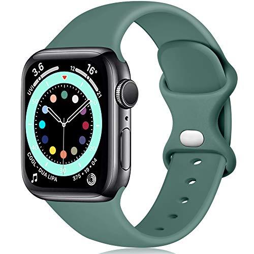 Epova Cinturino in Silicone Compatibile con Apple Watch 44mm 42mm, Cinturini di Ricambio per iWatch SE Series 6 5 4 3 2 1, Verde Pino, Piccolo