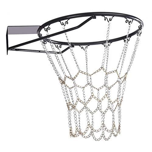 POHOVE Red de baloncesto de 21.5 pulgadas, cadena de acero galvanizado, red de baloncesto de alta resistencia, de metal, de repuesto, se adapta a llantas estándar de 12 ganchos interiores o exteriores