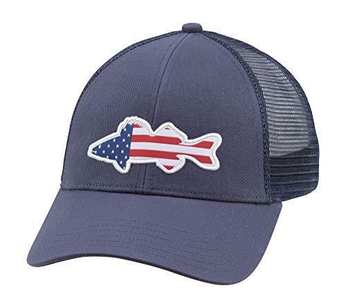 Simms Walleye Patch Trucker Hat - Snapback Baseball Cap mit Zander Fisch Patch, Unisex Herren, Dark Moon, Einheitsgröße