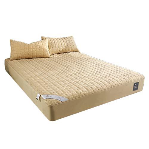 QIANGU Protector de colchón con cremallera de seis lados, todo incluido con superficie de tela cepillada, impermeable, sin estimulación (color: amarillo, tamaño: 180 x 200 + 15 cm)