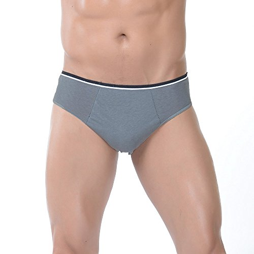 WoodyKnows Herren Einmal Slip aus Baumwolle (5er Pack), Einweg Unterhosen Herren, Einweg-Unterwäsche für Krankenhaus Reise Spa Kur Segeln Massage(XL, Grau)