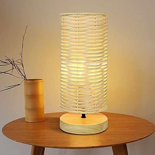 Depuley Lampe de Table Abat-Jour en Rotin, Lampe de Lecture, Lumière Chaude E27, Design Moderne en Rotin et Caoutchouc, Lamp Fait Main (Amouple LED 5W Incluse)…