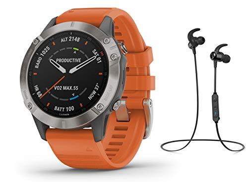 Garmin Fenix 6 Pro Saphir/Sapphire Titanium - Reloj deportivo GPS con auriculares Bluetooth, color gris y naranja