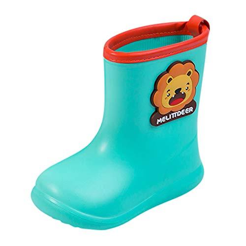 JERFER Gummistiefel Kinder Regenstiefel | Bunte Unisex-Gummistiefel für Mädchen und Jungen | schadstofffrei Wasserdicht Schuhe (22, Schwarz)