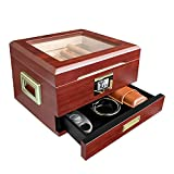 Flauno Cigar Humidor Box with Humidifier - Handcrafted Cedar Wood Cigar Case with Digital Hygrometer & Accessory Drawer | Holds 25-50 Cigars | Keeps Constant Humidity | Cigar Gift for Men