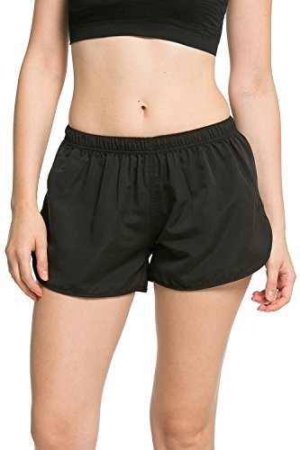 Dolamen Damen Badeshorts Bikinihose Shorts Trunks Lässige Shorts Badeanzug Bauchweg Badekleid Sport Yoga Hosen Mini Bikini Slip Beachwear, Boyleg Stil (Small, Schwarz)