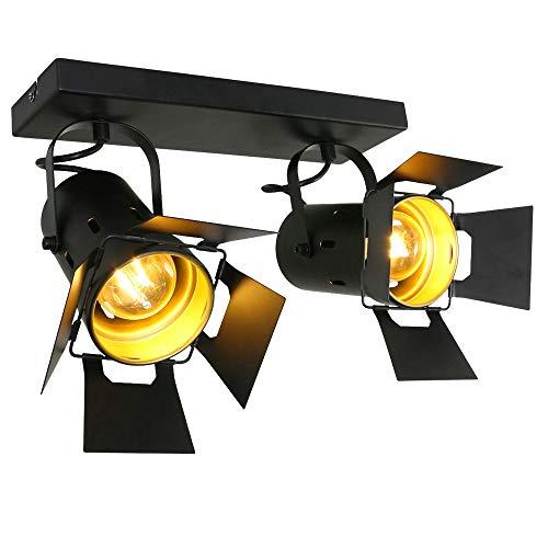 RETRO Decken Spot Leuchte Wohn Zimmer Studio schwarz-gold Lampe beweglich Steinhauer 7997ZW