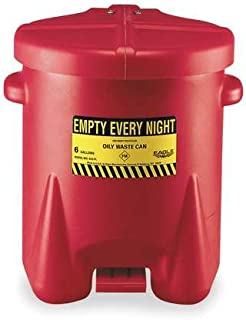 Poly Oily Waste Can 6 Gal W/Ft Lvr Red