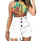 Pantalones Cortos Salvajes de Moda Casual para Mujer Pantalones Cortos de decoración con Botones Delgados de Cintura Alta de Color sólido de Verano para Exteriores y Vacaciones Medium