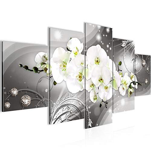 Bilder Blumen Orchidee Wandbild 200 x 100 cm Vlies - Leinwand Bild XXL Format Wandbilder Wohnzimmer Wohnung Deko Kunstdrucke Grün Grau 5 Teilig - MADE IN GERMANY - Fertig zum Aufhängen 006151b