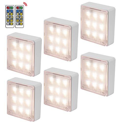 LED Luces Debajo del Gabinete Justech 6PCS Luz de Armario Regulables Brillo Ajustable Puck Lights con 2 Control Remoto y 4 Métodos de Instalación para Armario Cocina Gabinete