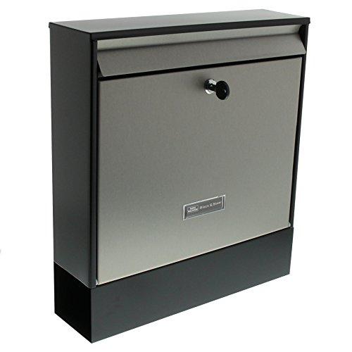 BURG-WÄCHTER Briefkasten mit Zeitungsfach und Namensschild, Verzinkter Stahl & Edelstahl, Einwurf-Format DIN C4, Inkl. 2 Schlüssel, Oxford-Set 68770 B+S, Edelstahl/Schwarz (ähnlich RAL 9005)