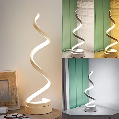SENQIU Lámpara LED Espiral, Lámpara de Mesa de Diseño Moderno con Cable de 1,5m, 20W Lámpara de Iluminación Acrílica Regulable, Adecuada para Estudio Dormitorio Sala de Estar Oficina