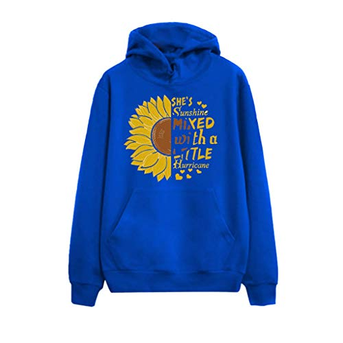 Meikosks Womens Lightweight Hooded Tops Long Sleeve Casual Sweatshirts Sunflower Hoodies Blue