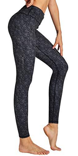 COOLOMG Damen Sport Leggings Laufhose mit Taschen Yogahose Kompressionshose Gemustert Kreis_schwarz M