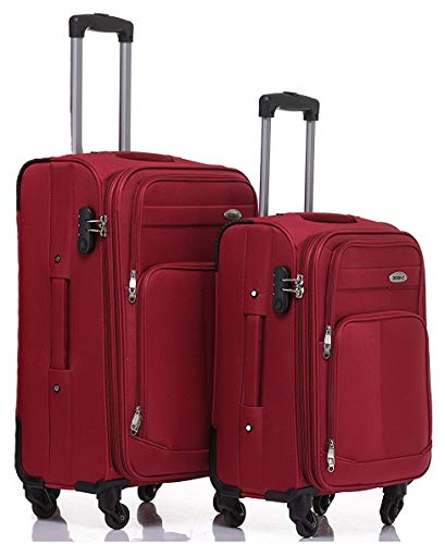 TOP-Trolley-Koffer-Set - 2-teilig - 64+54cm, Dehnfalte, 4 Rollen (Rot)