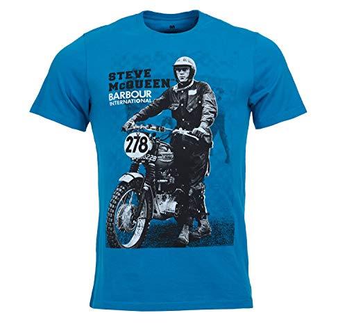 Barbour BATEE0380-MTS International Stand&Ride Tee Steve McQueen T-Shirt Herren Rundhalsausschnitt 100% Baumwolle Regular Fit Royal Blue, Blau XXL
