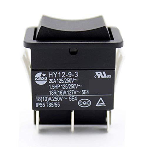KEDU Industrie-Elektrische Drucktaster, großer Strom an Aus, auf Wippschalter, HY12-9-3, 1,5 PS, 6 Pins, Tab 20A, 125/250 V, 2 Stück