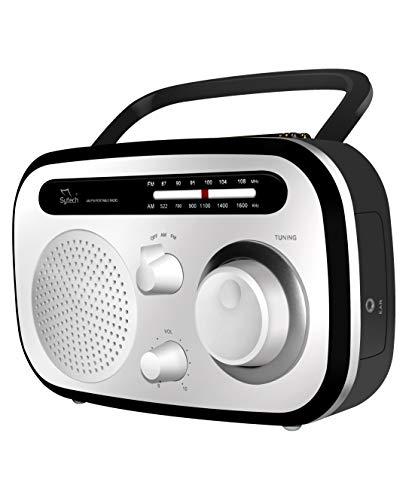 Radio portatil, Blanco,Am FM, Pila y Red (sytech)