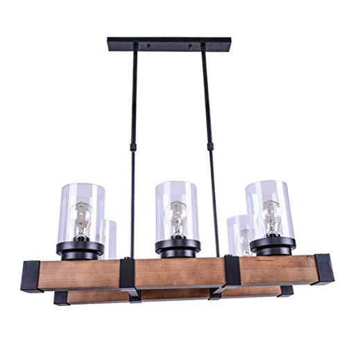 GJX smeedijzeren hanglamp, 6-kops retro balanced houten kroonluchter met glazen scherm, creatieve hanglampen/plafondlamp voor slaapkamer studie woonkamer