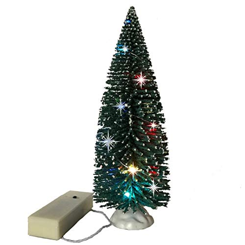 Mini Christmas Bottle Brush Tree with LED Rice Lights - Lighted Green Model Tree for Xmas Decoration Diorama Holiday Village Accessory Crafts Winter Scene Landscape DIY Tabletop Scenes - 9 Inch…