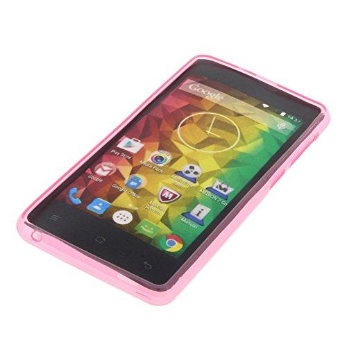 foto-kontor Tasche für MEDION Life E4503 Gummi TPU Schutz Hülle Handytasche pink