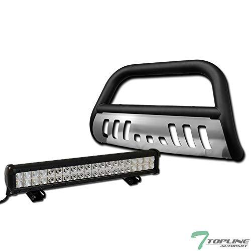 Topline Autopart Matte Black Bull Bar Brush Push Bumper Grill Grille Guard With Aluminum Skid Plate + 120W CREE LED Fog Light For 10-20 Toyota 4Runner