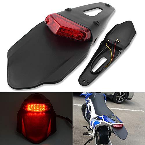 Katur - Luce freni rossa a LED per parafango posteriore con staffa per moto fuoristrada, motocross moto enduro (lente rossa)