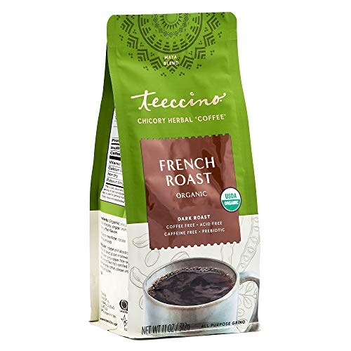 Teeccino Chicory Coffee Alternative  French Roast  Ground Herbal Coffee Thats Prebiotic, Caffeine-Free & Acid Free, Dark Roast, 11 Ounce
