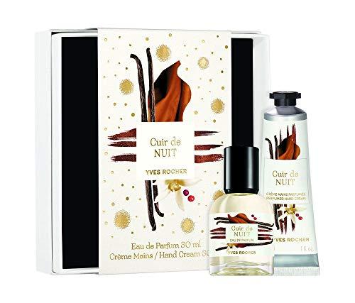 Yves Rocher LA COLLECTION Geschenk-Set Cuir de Nuit, sinnliches Parfum mit Vanille & Kakao, 1 x Zerstäuber 30 ml / 1x Handcreme 30ml