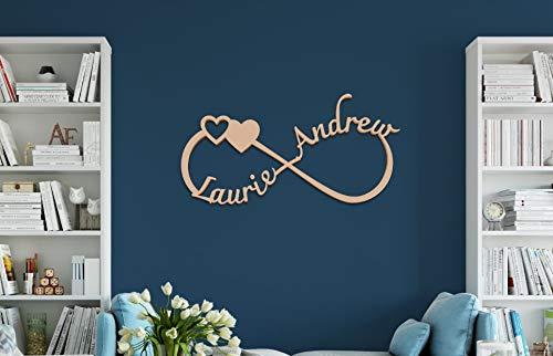 Eli231Abe Letrero de Madera de Infinito Personalizado Nombres para decoración de Bodas, decoración del hogar, decoración para el hogar